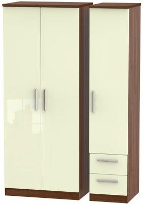 Knightsbridge 3 Door 2 Right Drawer Wardrobe - High Gloss Cream and Noche Walnut
