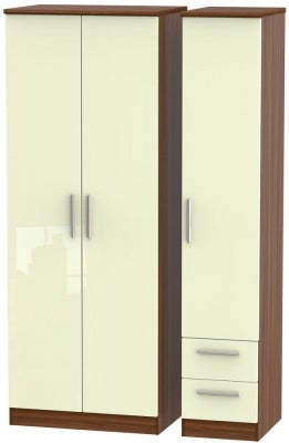 Knightsbridge 3 Door 2 Right Drawer Tall Wardrobe - High Gloss Cream and Noche Walnut