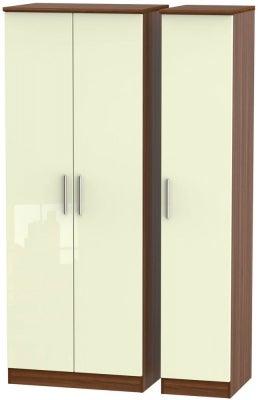 Knightsbridge 3 Door Tall Wardrobe - High Gloss Cream and Noche Walnut