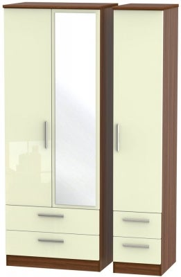 Knightsbridge 3 Door 4 Drawer Tall Combi Wardrobe - High Gloss Cream and Noche Walnut