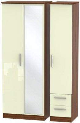 Knightsbridge 3 Door 2 Right Drawer Tall Combi Wardrobe - High Gloss Cream and Noche Walnut