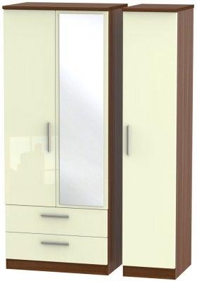 Knightsbridge 3 Door 2 Left Drawer Combi Wardrobe - High Gloss Cream and Noche Walnut