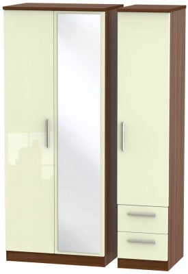Knightsbridge 3 Door 2 Right Drawer Combi Wardrobe - High Gloss Cream and Noche Walnut