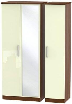 Knightsbridge 3 Door Mirror Wardrobe - High Gloss Cream and Noche Walnut