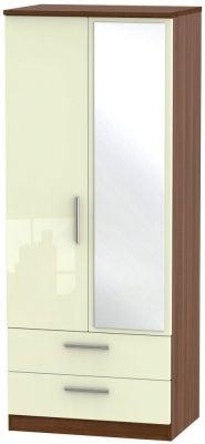 Knightsbridge 2 Door Combi Wardrobe - High Gloss Cream and Noche Walnut