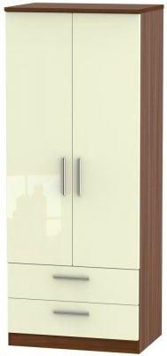 Knightsbridge 2 Door 2 Drawer Wardrobe - High Gloss Cream and Noche Walnut