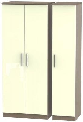 Knightsbridge 3 Door Wardrobe - High Gloss Cream and Toronto Walnut
