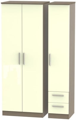 Knightsbridge 3 Door 2 Right Drawer Tall Wardrobe - High Gloss Cream and Toronto Walnut