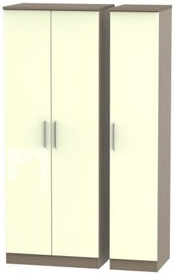 Knightsbridge 3 Door Tall Wardrobe - High Gloss Cream and Toronto Walnut