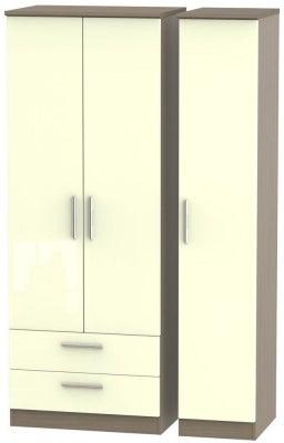 Knightsbridge 3 Door 2 Left Drawer Tall Wardrobe - High Gloss Cream and Toronto Walnut