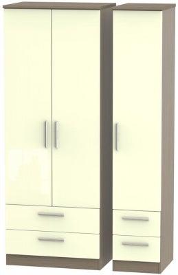 Knightsbridge 3 Door 4 Drawer Tall Wardrobe - High Gloss Cream and Toronto Walnut