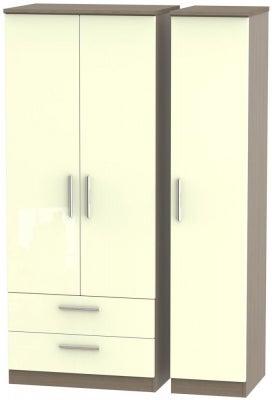 Knightsbridge 3 Door 2 Left Drawer Wardrobe - High Gloss Cream and Toronto Walnut