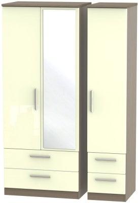 Knightsbridge 3 Door 4 Drawer Combi Wardrobe - High Gloss Cream and Toronto Walnut