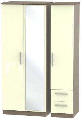 Knightsbridge 3 Door 2 Right Drawer Combi Wardrobe - High Gloss Cream and Toronto Walnut