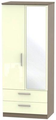 Knightsbridge 2 Door Combi Wardrobe - High Gloss Cream and Toronto Walnut