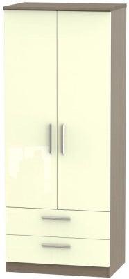 Knightsbridge 2 Door 2 Drawer Wardrobe - High Gloss Cream and Toronto Walnut