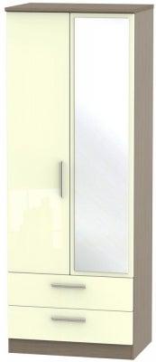 Knightsbridge 2 Door Tall Combi Wardrobe - High Gloss Cream and Toronto Walnut