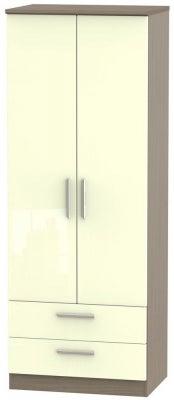 Knightsbridge 2 Door 2 Drawer Tall Wardrobe - High Gloss Cream and Toronto Walnut