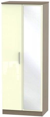 Knightsbridge 2 Door Tall Mirror Wardrobe - High Gloss Cream and Toronto Walnut
