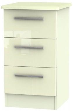 Knightsbridge High Gloss Cream 3 Drawer Bedside Cabinet