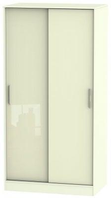 Knightsbridge High Gloss Cream 2 Door Sliding Wardrobe