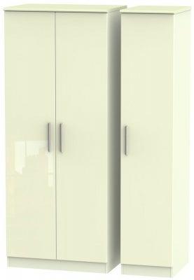 Knightsbridge High Gloss Cream 3 Door Wardrobe