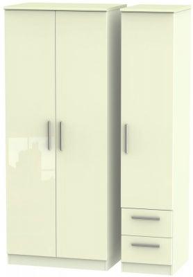 Knightsbridge High Gloss Cream 3 Door 2 Right Drawer Wardrobe