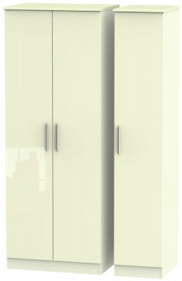 Knightsbridge High Gloss Cream 3 Door Tall Wardrobe
