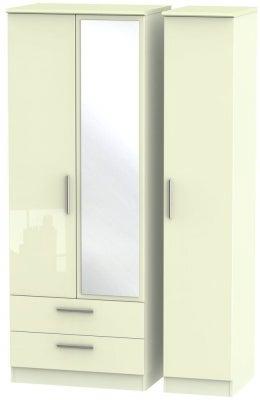Knightsbridge High Gloss Cream 3 Door 2 Left Drawer Tall Combi Wardrobe