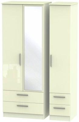 Knightsbridge High Gloss Cream 3 Door 4 Drawer Tall Combi Wardrobe
