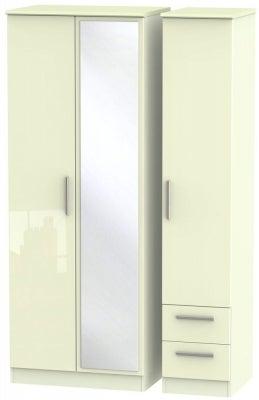 Knightsbridge High Gloss Cream 3 Door 2 Right Drawer Tall Combi Wardrobe