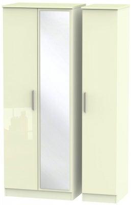 Knightsbridge High Gloss Cream 3 Door Tall Mirror Wardrobe