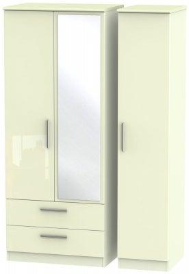 Knightsbridge High Gloss Cream 3 Door 2 Left Drawer Combi Wardrobe