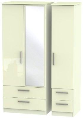 Knightsbridge High Gloss Cream 3 Door 4 Drawer Combi Wardrobe