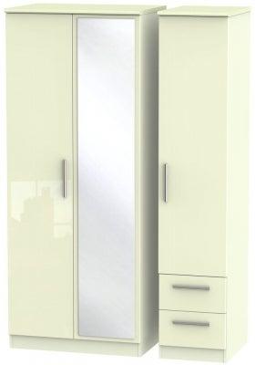 Knightsbridge High Gloss Cream 3 Door 2 Right Drawer Combi Wardrobe