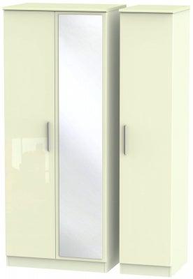 Knightsbridge High Gloss Cream 3 Door Mirror Wardrobe