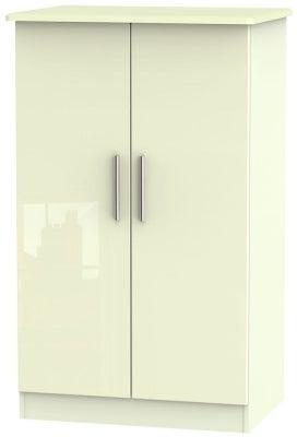 Knightsbridge High Gloss Cream 2 Door Midi Wardrobe
