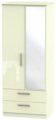 Knightsbridge High Gloss Cream 2 Door Combi Wardrobe