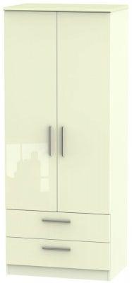 Knightsbridge High Gloss Cream 2 Door 2 Drawer Wardrobe