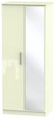 Knightsbridge High Gloss Cream 2 Door Mirror Wardrobe