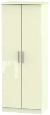 Knightsbridge High Gloss Cream 2 Door Tall Wardrobe