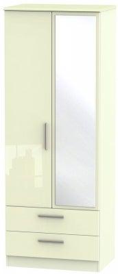 Knightsbridge High Gloss Cream 2 Door Tall Combi Wardrobe