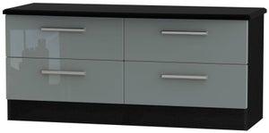 Knightsbridge Bed Box - High Gloss Grey and Black