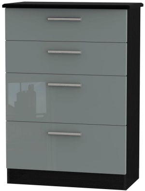 Knightsbridge 4 Drawer Deep Chest - High Gloss Grey and Black