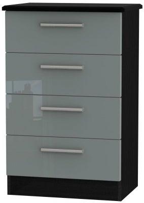 Knightsbridge 4 Drawer Midi Chest - High Gloss Grey and Black