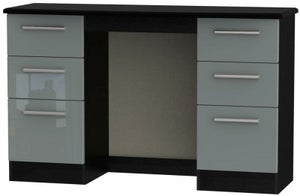 Knightsbridge Double Pedestal Dressing Table - High Gloss Grey and Black