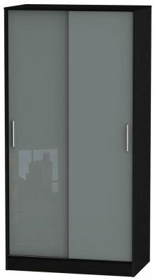 Knightsbridge 2 Door Sliding Wardrobe - High Gloss Grey and Black