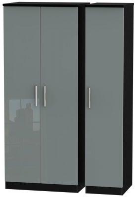 Knightsbridge 3 Door Wardrobe - High Gloss Grey and Black