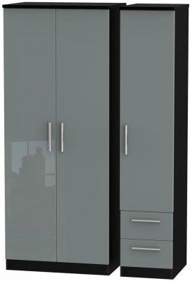 Knightsbridge 3 Door 2 Right Drawer Wardrobe - High Gloss Grey and Black