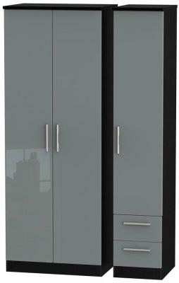 Knightsbridge 3 Door 2 Right Drawer Tall Wardrobe - High Gloss Grey and Black